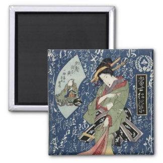 Eisen Woodblock Druck-Geisha im grünen Kimono Quadratischer Magnet