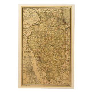 Eisenbahn-Karte von Illinois (1. April 1898) Holzleinwände