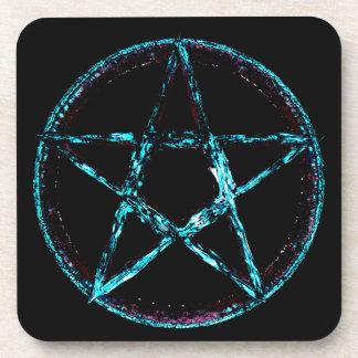 Eisige Pentagram-Untersetzer mit Korkenrückseite - Getränkeuntersetzer