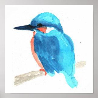 Eisvogel-Aquarellmalerei-Quadratplakat Poster