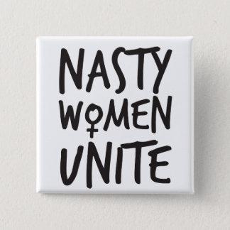 Eklige Frauen vereinigen Knopf Quadratischer Button 5,1 Cm