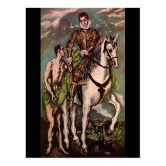 El Grecos St Martin und der Bettler, circa 1600 Postkarte