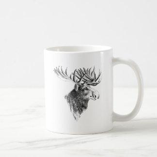 Elch-Kopf-Zeichnen Kaffeetasse