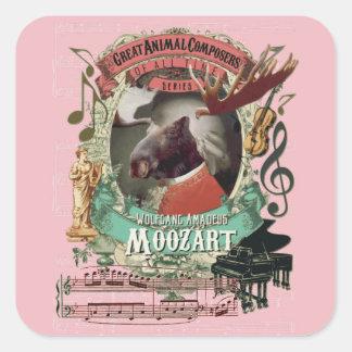 Elch-Tier-Komponisten Wolfgang Amadeus Moozart Quadratischer Aufkleber