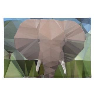 Elefant-afrikanisches Hauptthema niedrig Poly Tischset