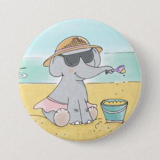 Elefant auf dem Strandknopf Runder Button 7,6 Cm