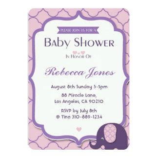 Elefant-Baby-Dusche laden rosa lila Quatrefoil ein Karte