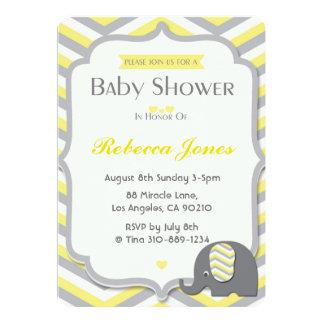 Elefant-Baby-Duschen-Einladungs-Gelb Zickzack Karte