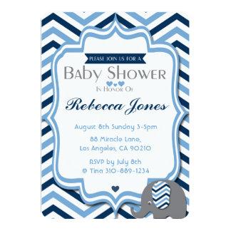 Elefant-Baby-Duschen-Einladungs-Jungen-blaues Karte