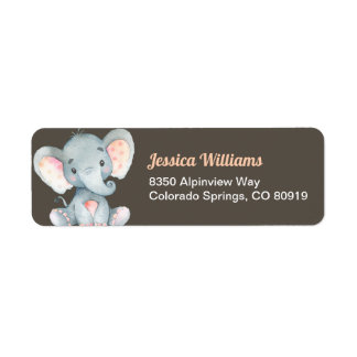Elefant-Baby-Duschen-Rücksendeadresse-Aufkleber