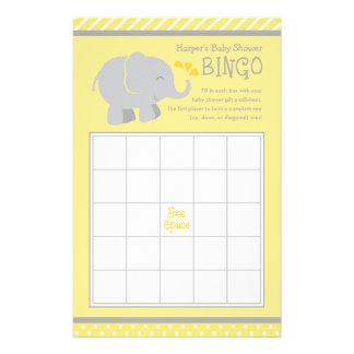 Elefant-Babyparty-Bingo kardiert gelbes | und Grau 14 X 21,6 Cm Flyer