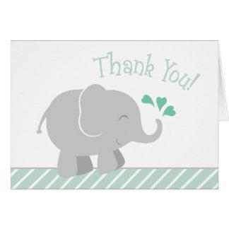 Elefant-Babyparty danken Ihnen | tadelloses Grün Karte