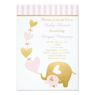 Elefant-Babyparty-Einladung im Rosa und im Gold 12,7 X 17,8 Cm Einladungskarte