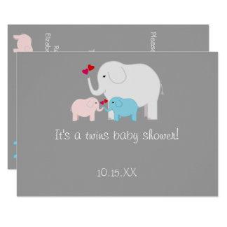 Elefant-Babyparty paart Jungen-Mädchen Karte