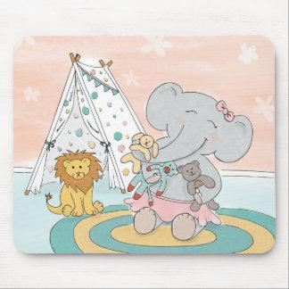 Elefant, der Freunde Mausunterlage herstellt Mousepad