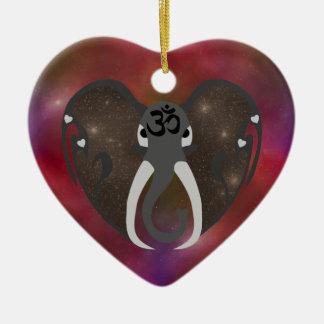 Elefant, der zum Kosmos hört Keramik Herz-Ornament