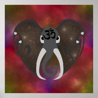 Elefant, der zum Kosmos hört Poster
