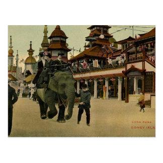 Elefant-Fahrt in Luna Park, Coney Island, 1910 Postkarte