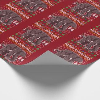 Elefant-hässliche Weihnachtsstrickjacke-Tier-Reihe Geschenkpapier