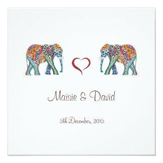 Elefant-Hochzeits-Einladung Quadratische 13,3 Cm Einladungskarte
