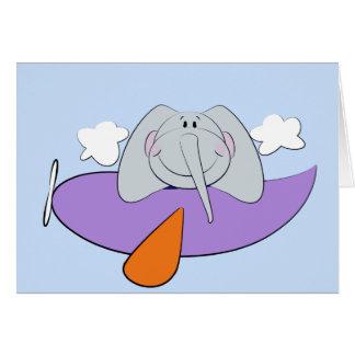 Elefant im Flugzeug-Kindergeburtstag Karte