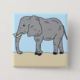 Elefant in den Wiesen Quadratischer Button 5,1 Cm
