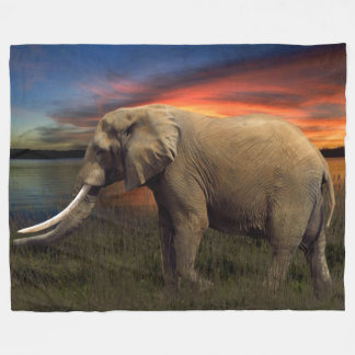 Elefant in der Sonnenuntergang-Fleece-Decke, groß Fleecedecke