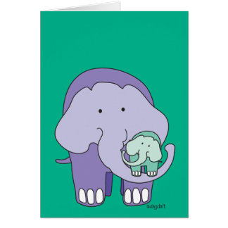 Elefant in Lila Karte
