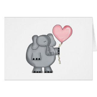 Elefant mit Herz-Ballon Karte