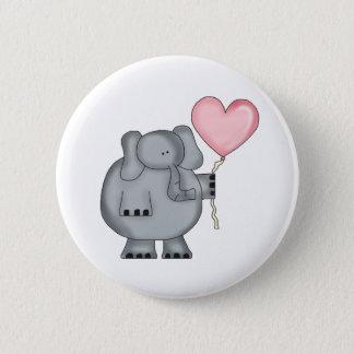 Elefant mit Herz-Ballon Runder Button 5,7 Cm