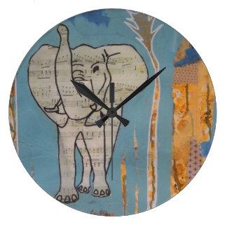 Elefant-Musik-Uhr Große Wanduhr