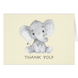 Elefant-neutrale Babyparty danken Ihnen zu merken Karte