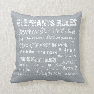Elefant-Regeln weiß/graues umschaltbares Kissen