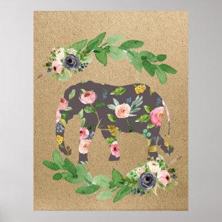Elefant-rosa BlumenKinderzimmer-Druck Poster
