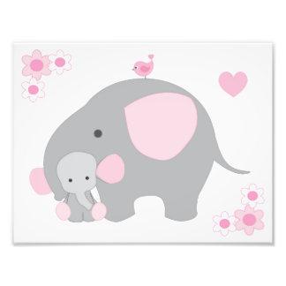 Elefant-rosa graue graue fotodruck