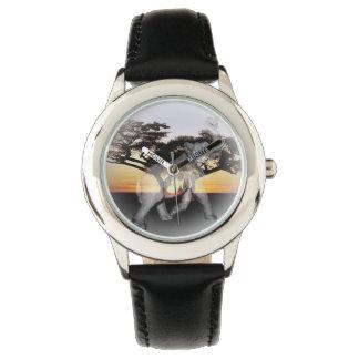Elefant-Schatten-Tanz-Ziegenleder-Uhr Armbanduhr