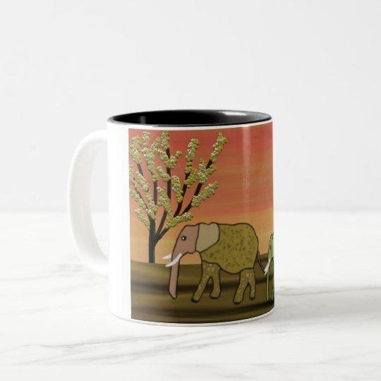 Elefant-Sonnenuntergang Zweifarbige Tasse