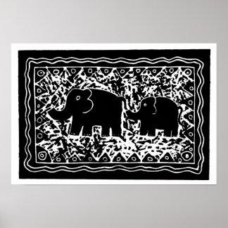 Elefant u. Kalb Poster