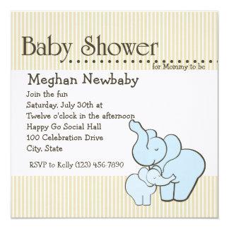 Elefant umarmt Babyparty Quadratische 13,3 Cm Einladungskarte