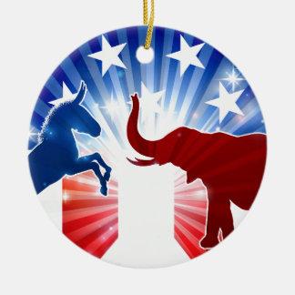 Elefant-und Esel-Maskottchen-Silhouetten Rundes Keramik Ornament