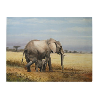 Elefant- und Kalb-Ölgemälde Holzwanddeko
