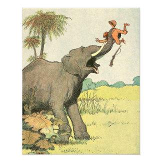 Elefant und Wilderer im Dschungel illustriert Fotodruck