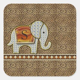 Elefant-Weg-Monogramm-Gepard ID390 Quadratischer Aufkleber