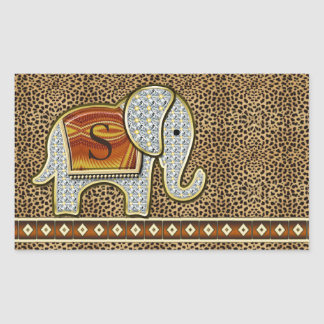 Elefant-Weg-Monogramm-Gepard ID390 Rechteckiger Aufkleber