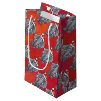 Elefant-Weihnachten auf Rot Kleine Geschenktüte