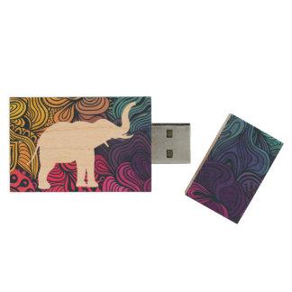 Elefant-Zeichnungs-Piktogramm Holz USB Stick