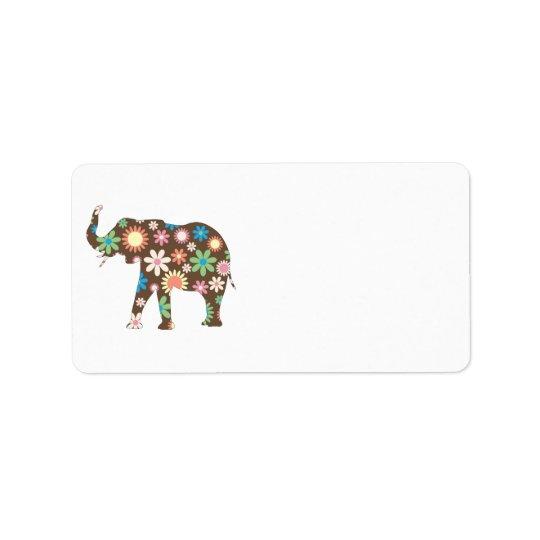 ElefantFunky retro BlumenBlumen-Adressen-Etiketten Adressetiketten