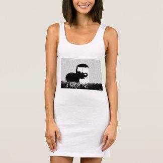 Elefantregen Kunst-Jersey-Behälter-Kleiderweiß Ärmelloses Kleid