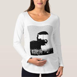 Elefantregen Kunst-langer Hülsen-MutterschaftsT - Schwangerschafts T-Shirt