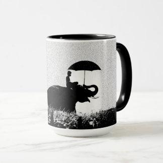 Elefantregen Kunst-Schwarzes 15-Unze-kombinierte Tasse